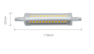 Lampe LED BENEITO R7S Tubulaire - 230V 11W 4000K 1280Lm 360° 118mm 25 000H dimmable - Garantie 2ans
